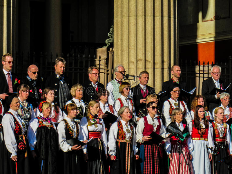 Chorus on Norwegian Constitution Day May 17th. Norwegian Constitution Day. May 17th. The National Day of Norway. A chorus sings traditional songs of Norway while stock photo