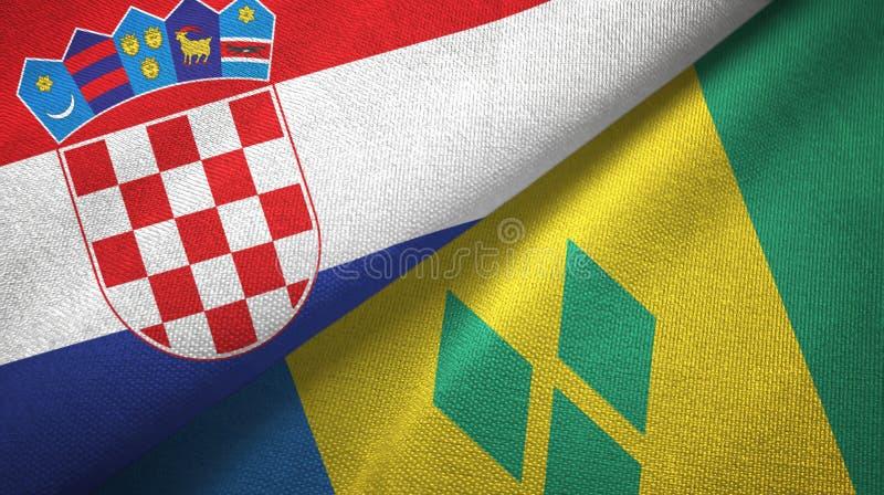 Chorwacja, święty Vincent i grenadyn dwa flag tkaniny płótno royalty ilustracja