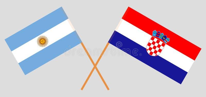 Chorwacja i Argentyna Chorwackie i Argentinean flagi Oficjalni kolory Poprawna proporcja wektor ilustracja wektor