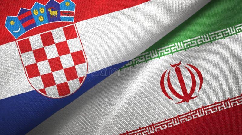 Chorwacja i Iran dwa flagi tekstylny płótno, tkaniny tekstura royalty ilustracja