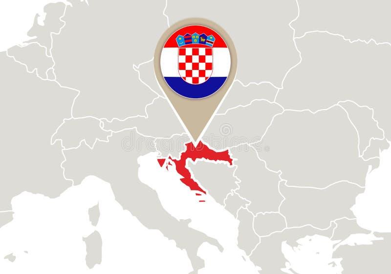 Chorwacja na Europa mapie royalty ilustracja