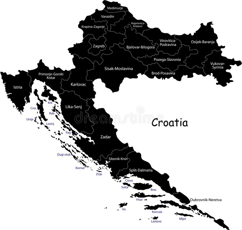 Chorwacja wektorowa mapa ilustracja wektor