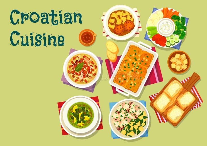 Chorwacka kuchnia lunchu ikona z owoce morza i mięsem ilustracji