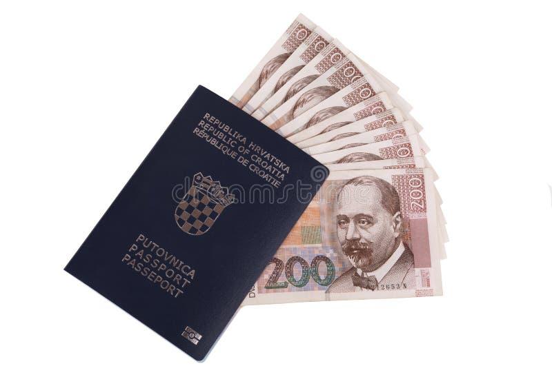 Chorwacki paszport z Chorwackim pieniądze obraz royalty free