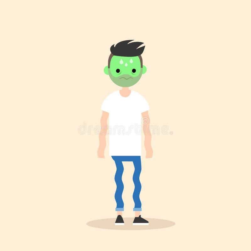 Chory dygotliwy młody człowiek z zieloną twarzy kreskówką royalty ilustracja