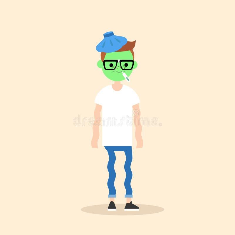 Chory dygotliwy młody głupek z zieloną twarzy kreskówką ilustracji