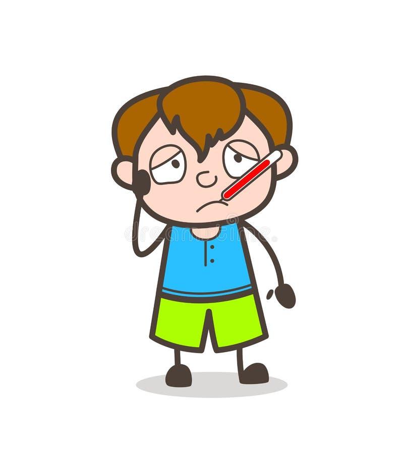 Chory dzieciak z Gorączkowym termometrem - Śliczna kreskówki chłopiec ilustracja royalty ilustracja