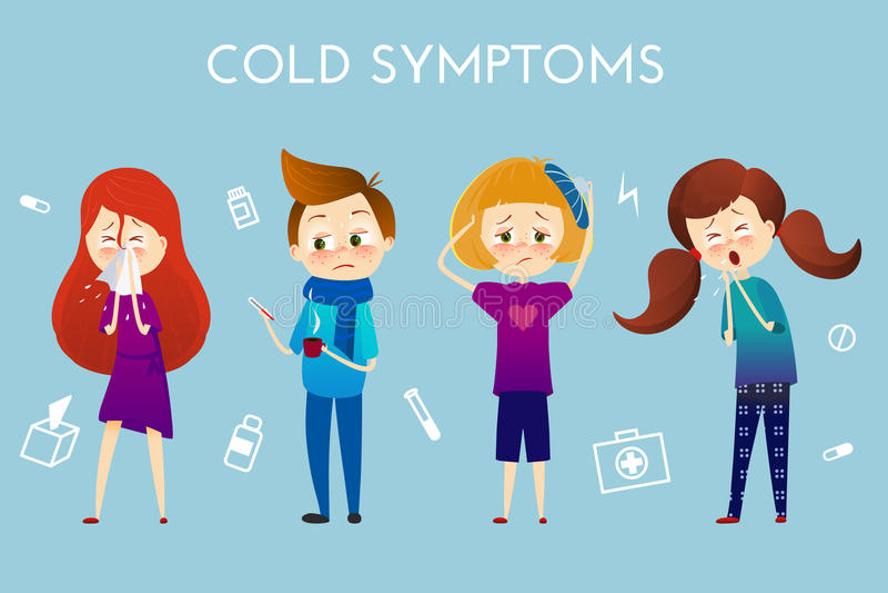 Chory dziecko z febrą, choroba Chłopiec i dziewczyna z kichnięciem, wysokotemperaturowy, bolesny gardło, upał, kasłanie, migrena, ilustracji