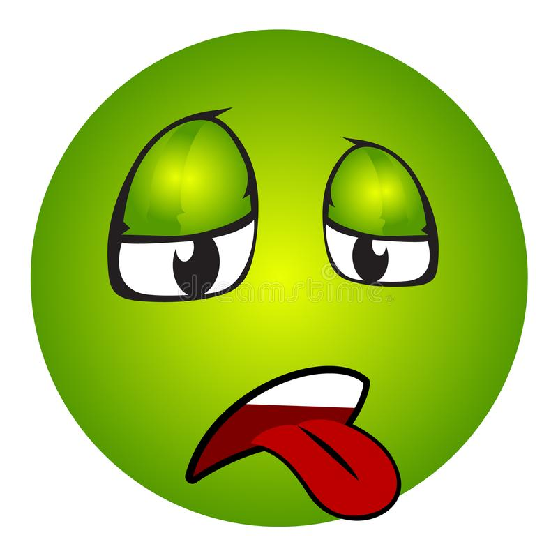 Chory emoticon z jęzorem out ilustracji