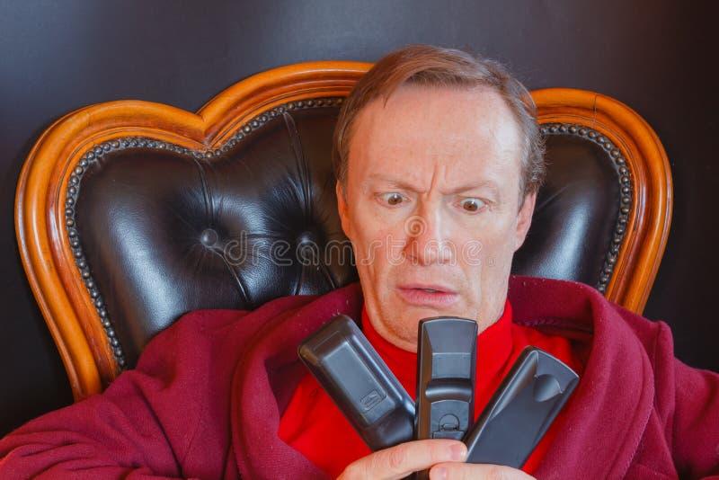 Chory mężczyzna seriale telewizyjni fotografia royalty free