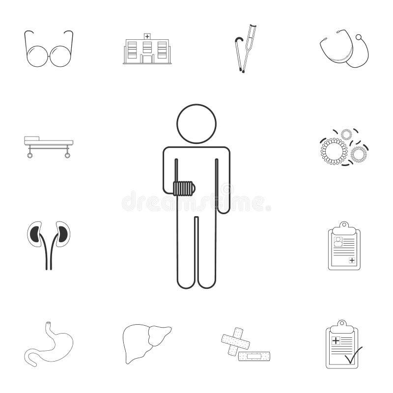 Chory mężczyzna z bandażującą ręki ikoną Prosta element ilustracja Chory mężczyzna z bandażującym ręka symbolu projektem od Medyc ilustracji
