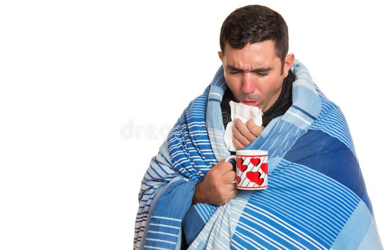 Chory mężczyzna z febrą, grypa, alergia, zimny kasłać zdjęcia royalty free