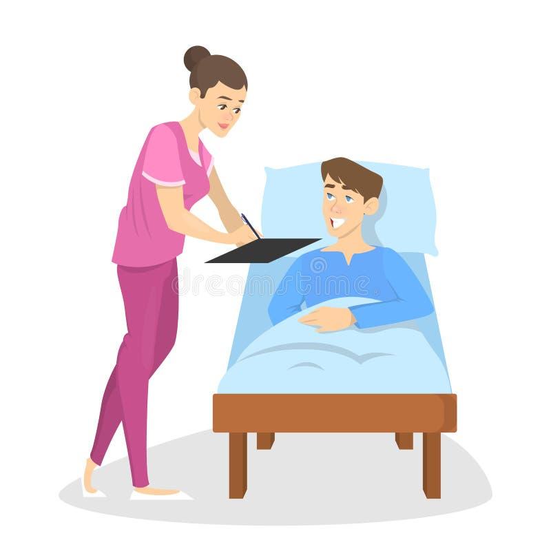 Chory mężczyzny lying on the beach w łóżku szpitalnym ilustracja wektor