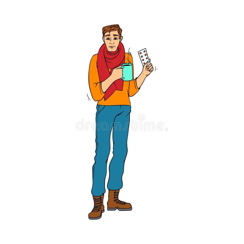 Chory młody człowiek pije gorący herbacianego i trzyma pigułki w ręki opłacie mieć zimno i grypę ilustracja wektor
