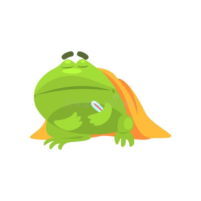 Chory Zielonej żaby Śmieszny charakter Z koc I termometru kreskówki Dziecięcą ilustracją ilustracji