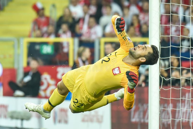 Poland vs Portugal 2:3 . In the picture goalkeeper Lukasz Fabianski stock image
