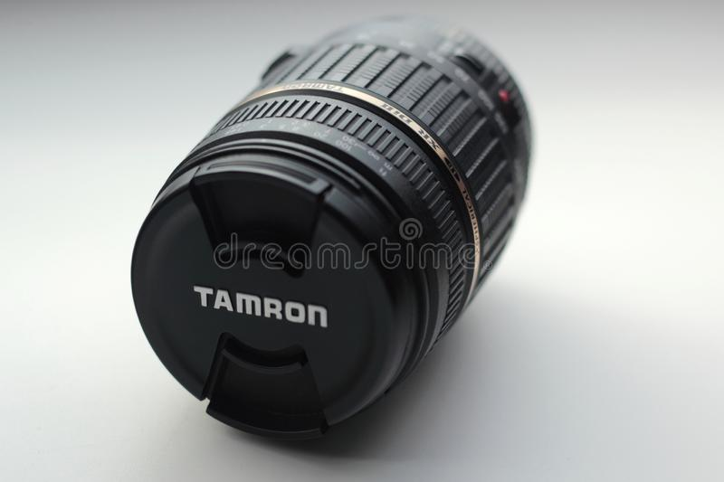 Tamron lens. Chorzow, Poland - September 23, 2019: Closeup of Tamron 18-200 lens. Tamron is a Japanese company founded in 1950 royalty free stock photography