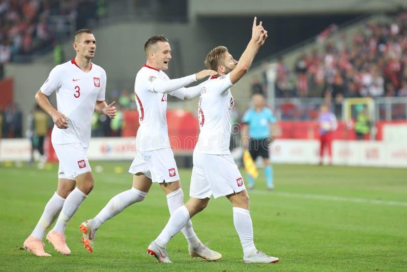 CHORZOW, POLEN - OKTOBER 11, 2018: UEFA-Natiesliga 2019: Polen - Portugal o/p Jakub Blaszczykowski, Piotr Zielinski, Artur royalty-vrije stock fotografie