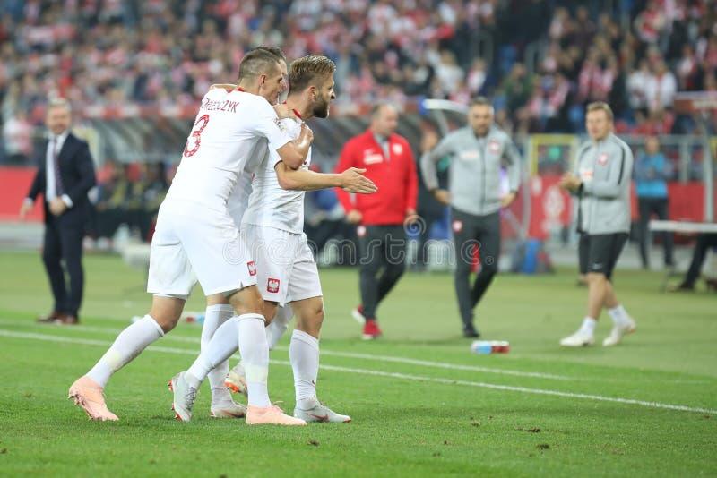 CHORZOW, POLEN - OKTOBER 11, 2018: UEFA-Natiesliga 2019: Polen - Portugal o/p Jakub Blaszczykowski, Piotr Zielinski, Artur royalty-vrije stock afbeeldingen