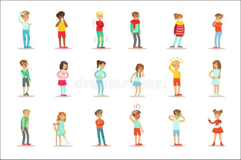 Chorzy dzieci Czuje Cierpiącego cierpienie Od choroby Lub urazu Potrzebuje opieki zdrowotnej pomocy Medycznego set postać z kresk ilustracja wektor