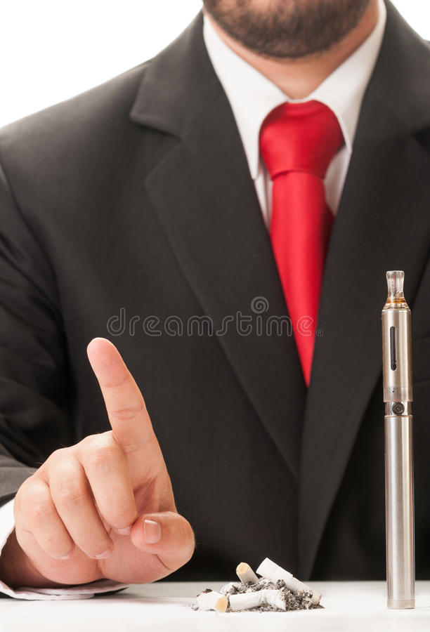 Chose clean electronic cigarette instead dirty cigarette stumps. Concept royalty free stock image