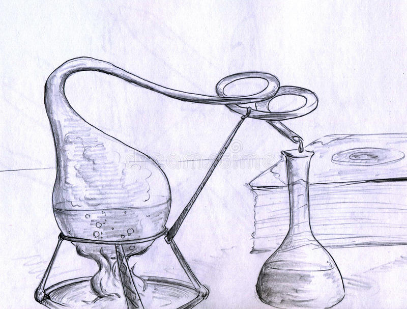 Choses de laboratoire d'alchimie illustration de vecteur
