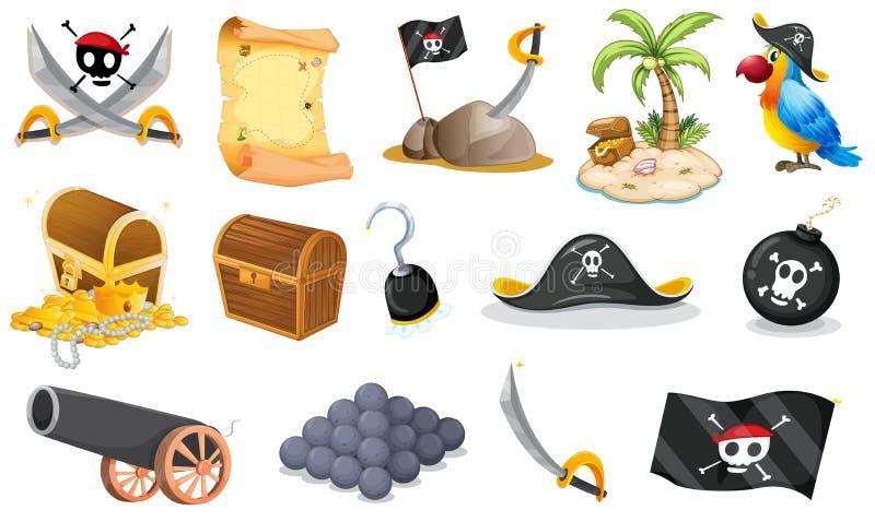 Choses liées à un pirate illustration de vecteur