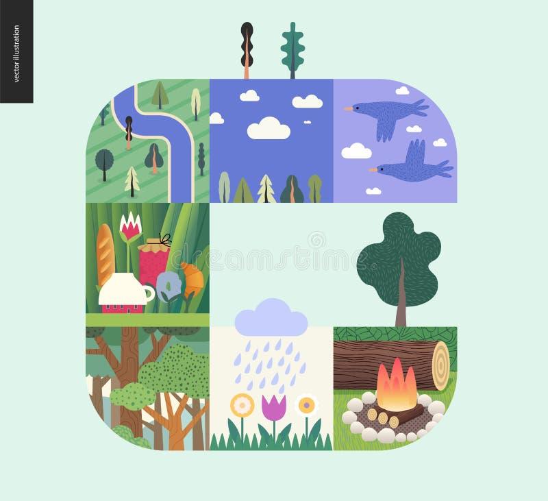 Choses simples - composition réglée en forêt sur un fond en bon état illustration libre de droits