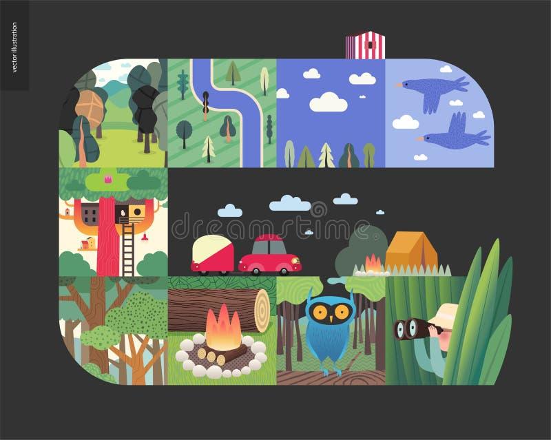 Choses simples - composition réglée en forêt sur un fond noir illustration stock