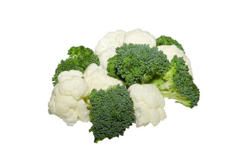 Chou-fleur et broccoli d'isolement sur le backgro blanc images stock