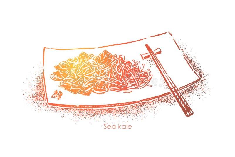 Chou marin ou wakame, nourriture asiatique traditionnelle, algue délicieuse de plat avec des baguettes, déjeuner organique illustration libre de droits