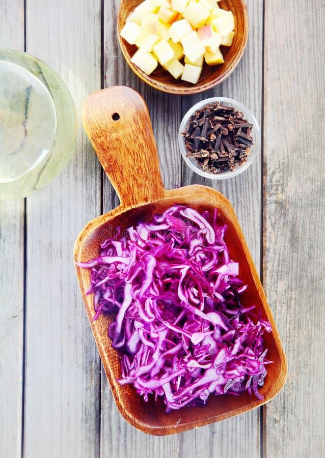 Chou rouge pour la salade avec d'autres ingrédients image libre de droits