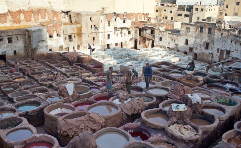 Chouara garverisouk i Fez, Marocko arkivbild