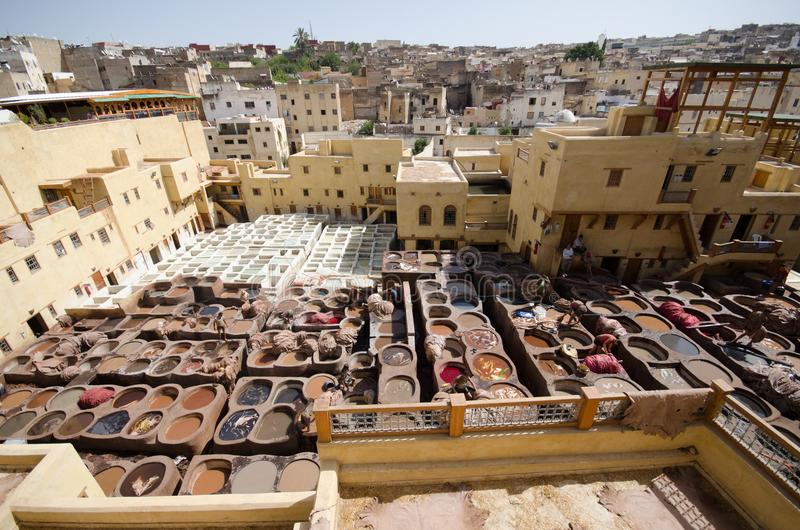 Chouara Tannery, Fez, Morocco. The Chaouwara tanneries are one of the city's most iconic sights and smells, offering a unique window into the pungent stock image