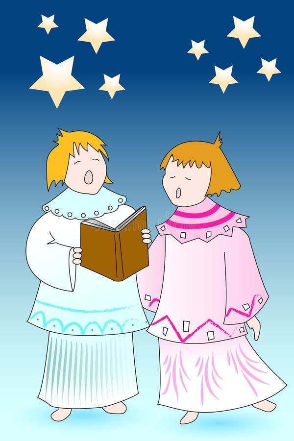 Chourus dos anjos do cartão de Natal ilustração royalty free