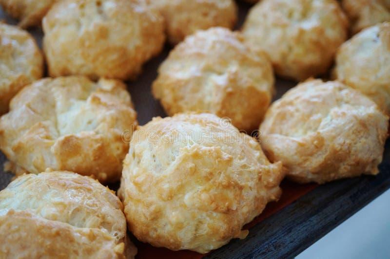 Choux franceses del soplo del queso de los gougeres fotos de archivo