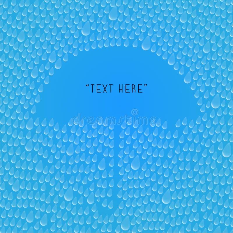 Chova gotas com espaço do guarda-chuva para seu conceito do texto ilustração stock