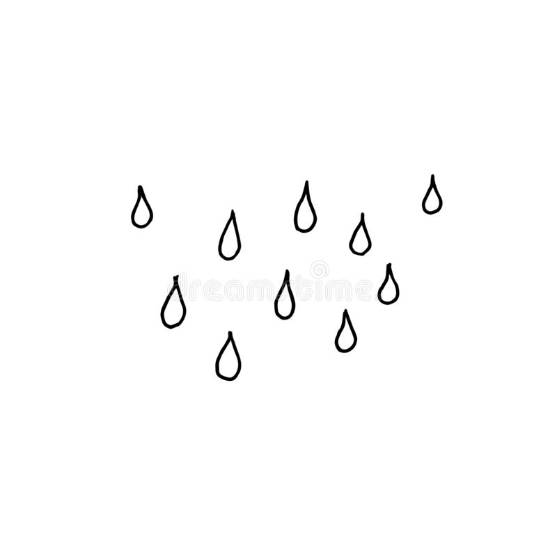 Chova gotas Esboço monocromático, desenho da mão Esbo?o preto no fundo branco Ilustra??o do vetor ilustração do vetor