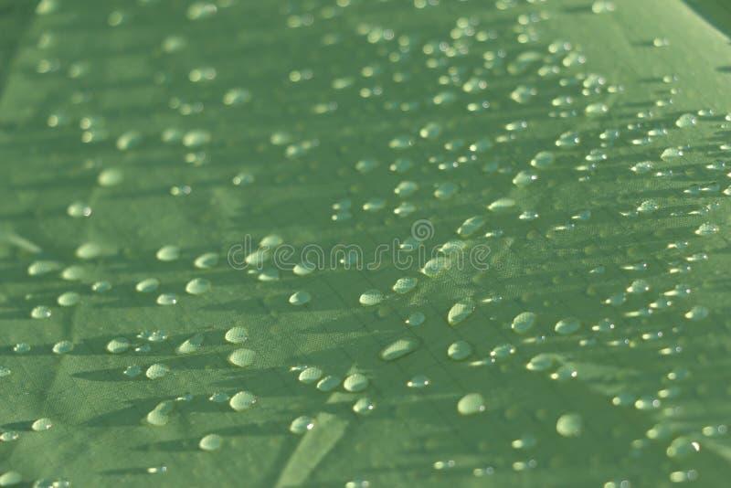 Chova gotas na folha impermeável verde da barraca fotos de stock