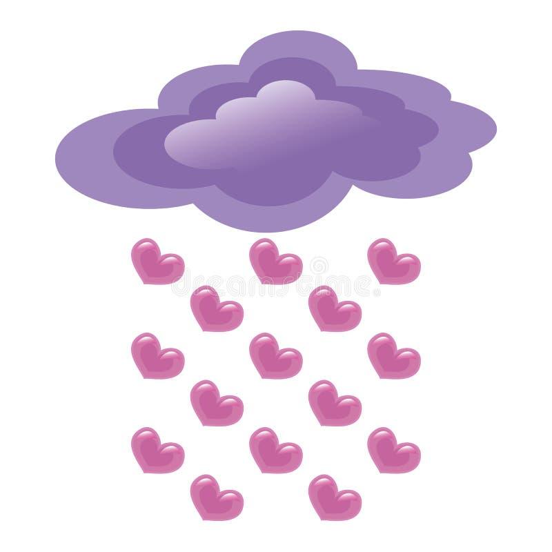 Chova a nuvem roxa dos corações cor-de-rosa em um fundo branco ilustração do vetor