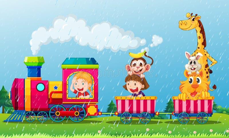 Chovendo a cena com os animais no trem ilustração do vetor