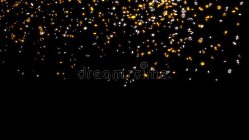 Chover de minúsculo e Chubby Golden e prata seis estrelas de Branchs ilustração stock