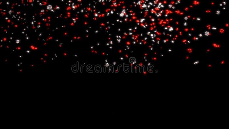 Chover de minúsculo e Chubby Red e prata seis estrelas de Branchs ilustração do vetor