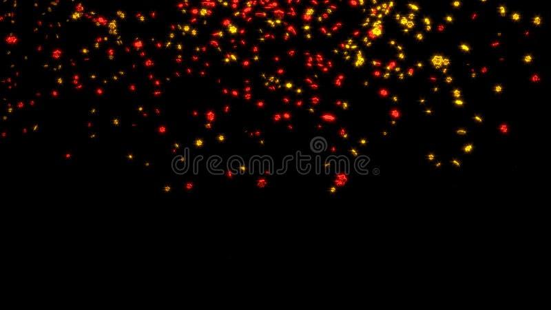 Chover de minúsculo e Chubby Red e seis estrelas douradas de Branchs ilustração stock