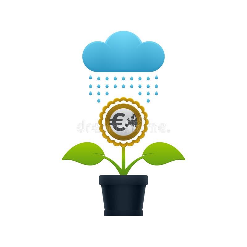 Chover na flor com euro- moeda ilustração do vetor