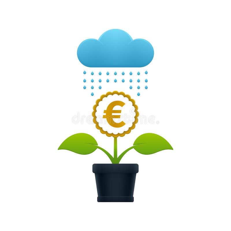 Chover na flor com euro- símbolo ilustração stock
