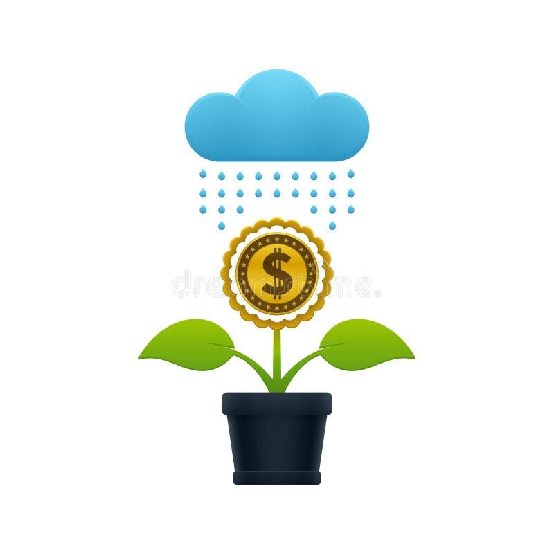 Chover na flor com moeda do dólar ilustração do vetor