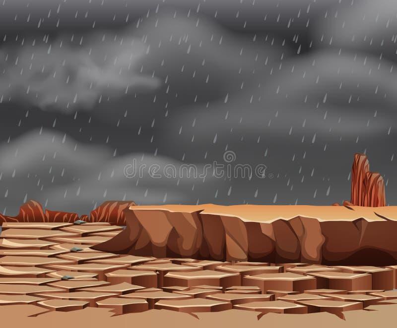Chover na terra droughty ilustração do vetor