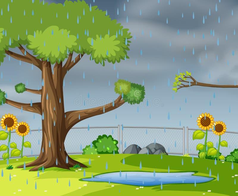 Chover no jardim ilustração do vetor