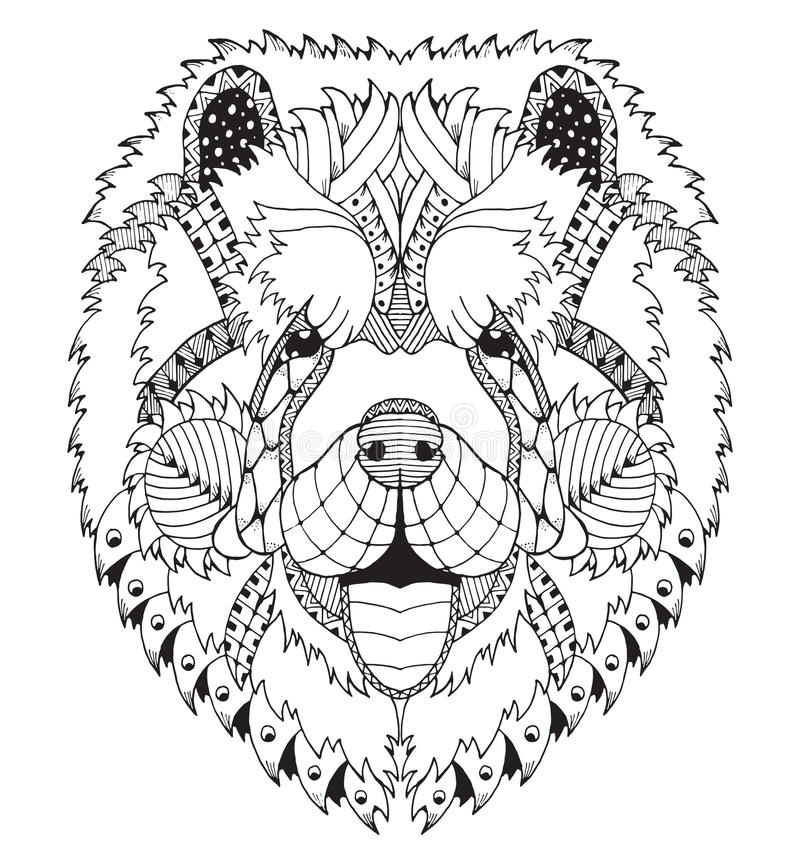 Chow chow dog zentangle stylized head, freehand pencil, hand drawn, pattern. Zen art. Ornate vector. Coloring. Print for t-shirts vector illustration
